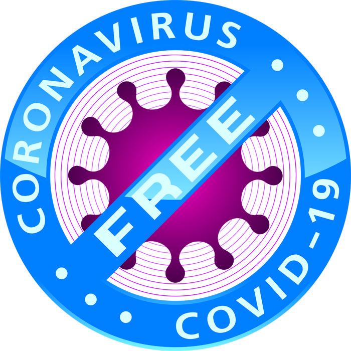 Coronavirus COVID-19 FREE badge.